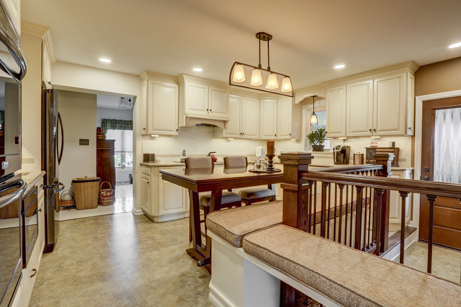 Kitchen remodel with built in bench seating