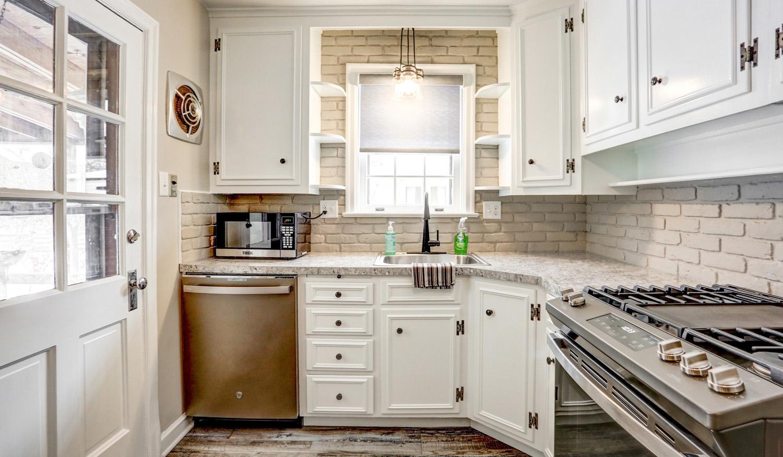 Brick backsplash in Lancaster City kitchen remodel