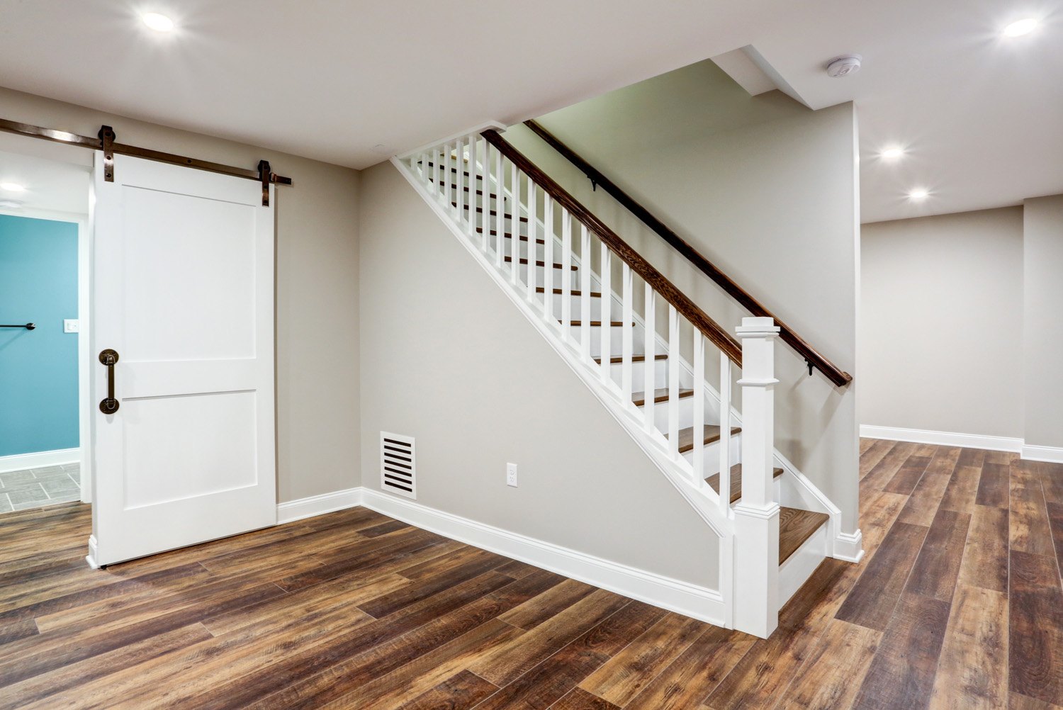 Open staircase in Lancaster PA basement remodel