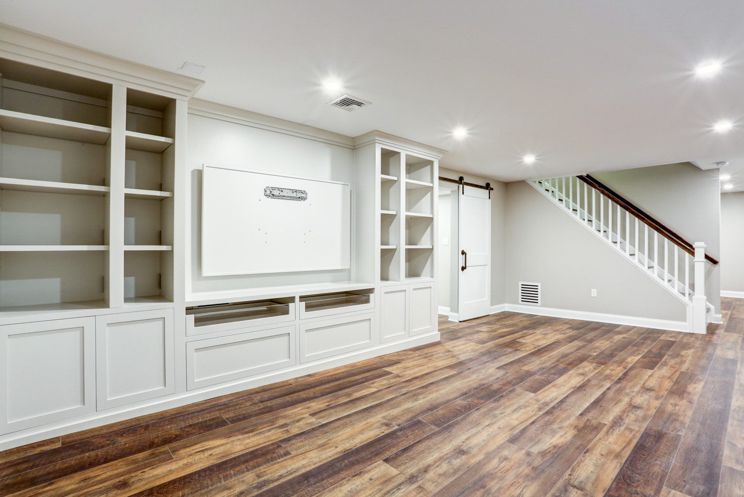 Basement remodel with built in cabinets in Lancaster PA