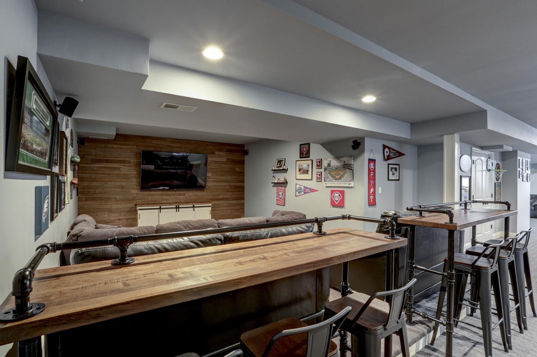 Custom bar tops in Lititz PA basement remodel