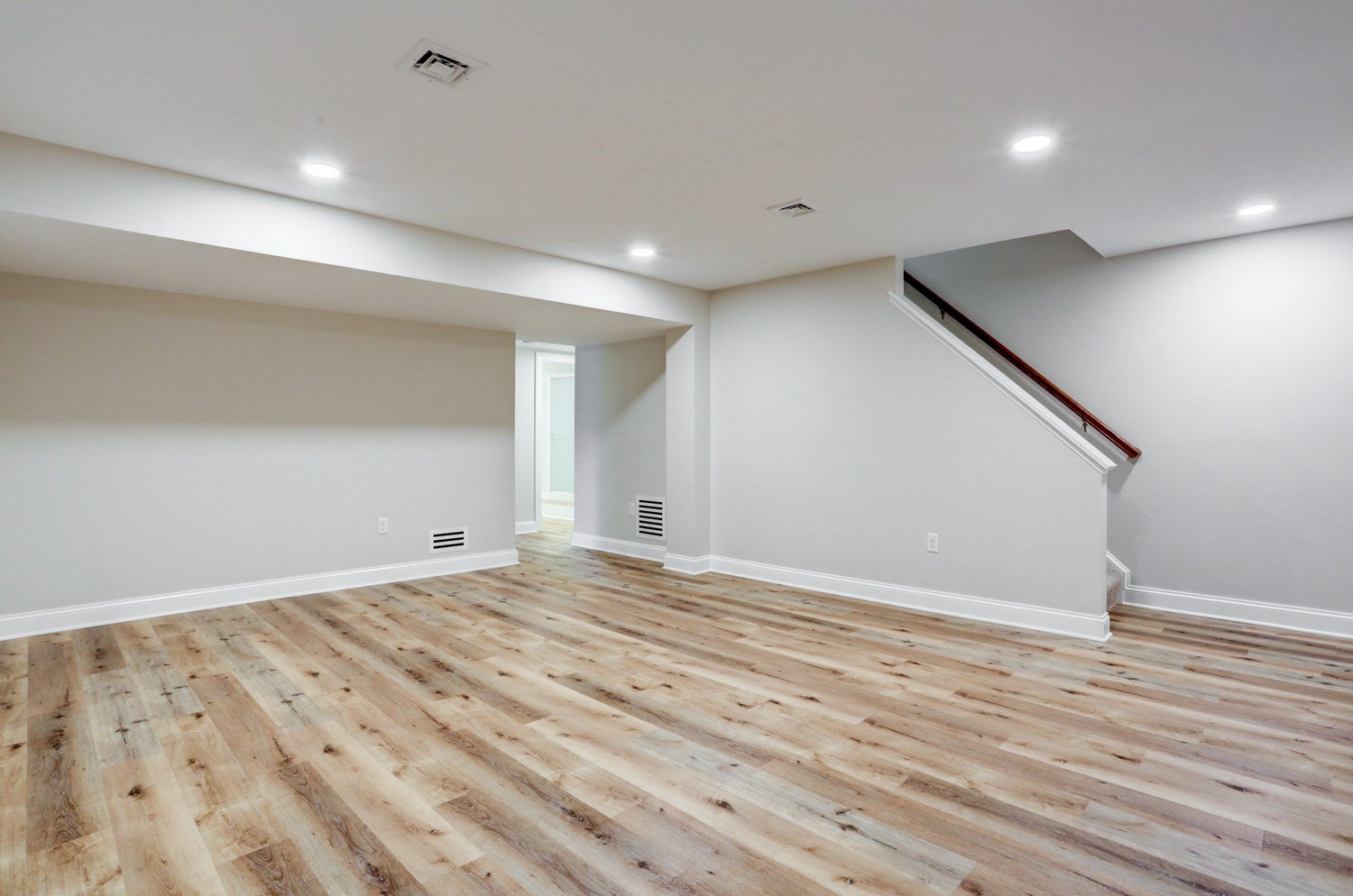 Basement remodel with wood flooring in Lancaster PA