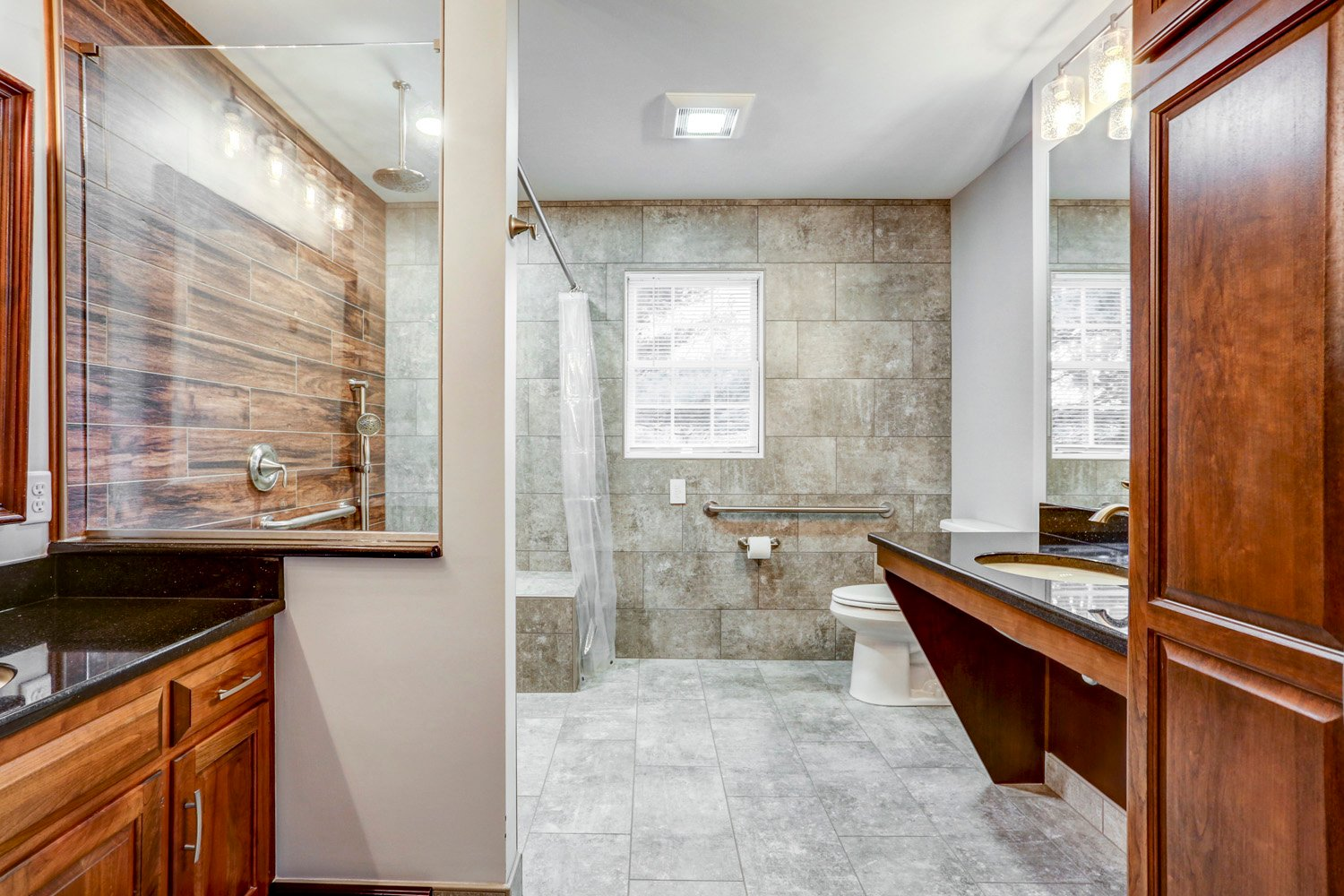 Universal bathroom remodel with tile walls in Lancaster PA