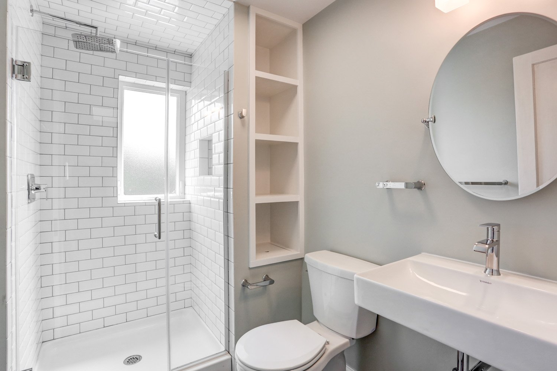 Recessed shelves in Lancaster PA bathroom remodel