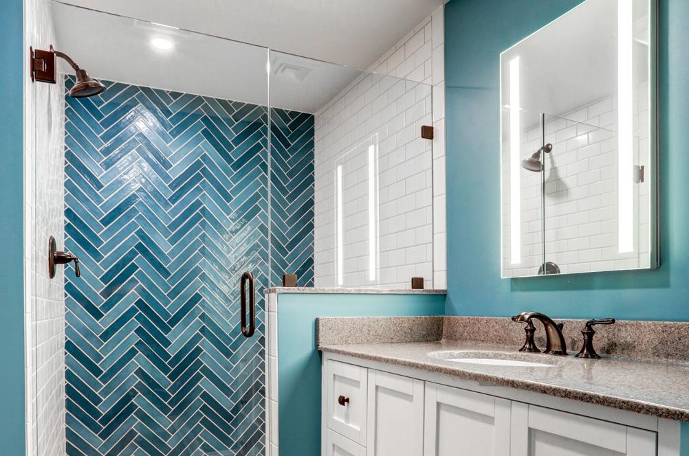 Herringbone tile shower in Lititz bathroom remodel