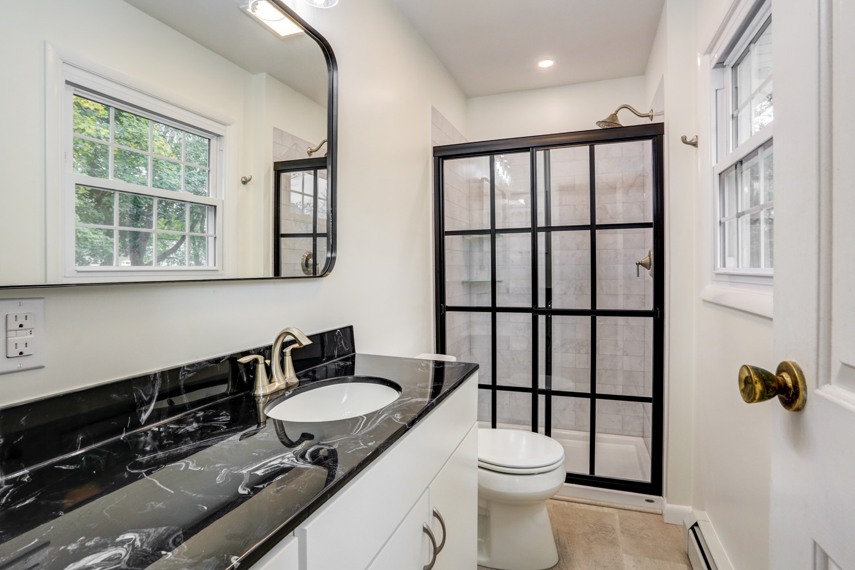 Farmhouse shower door in Lancaster PA bathroom remodel