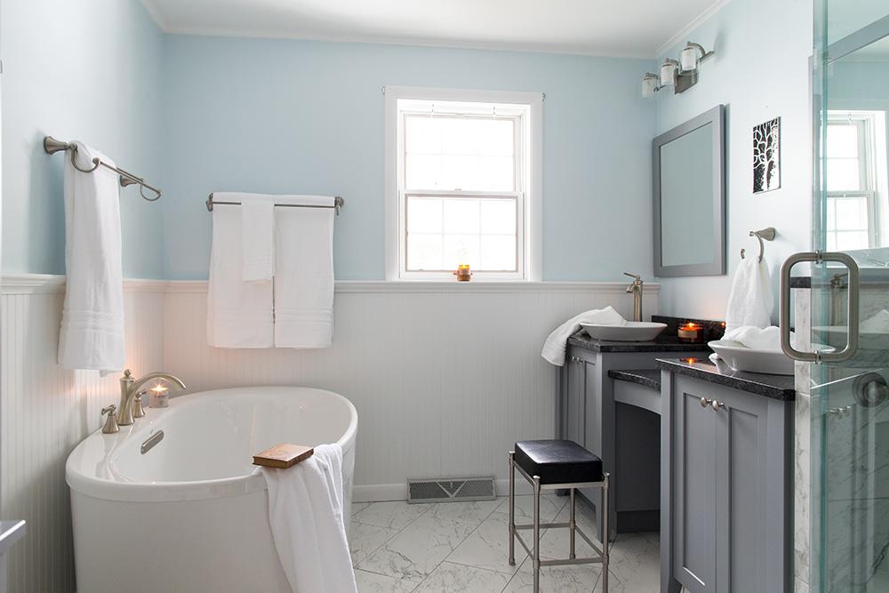 Freestanding tub in Millersville PA bathroom remodel