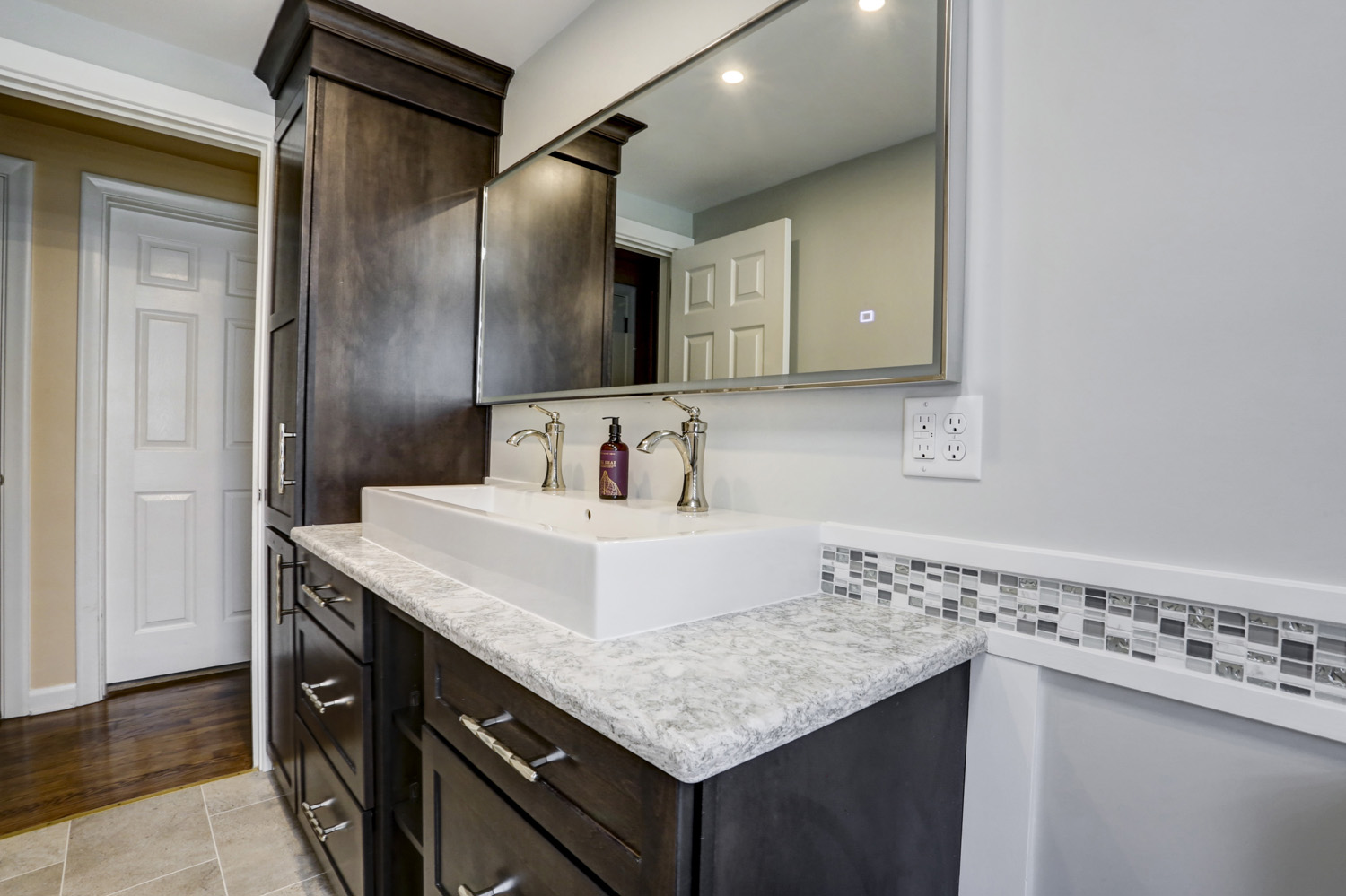 Master bathroom remodel in Lancaster with double trough sink