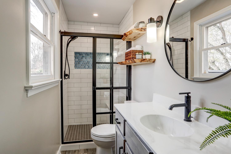 Farmhouse style shower door in Lancaster master bathroom remodel
