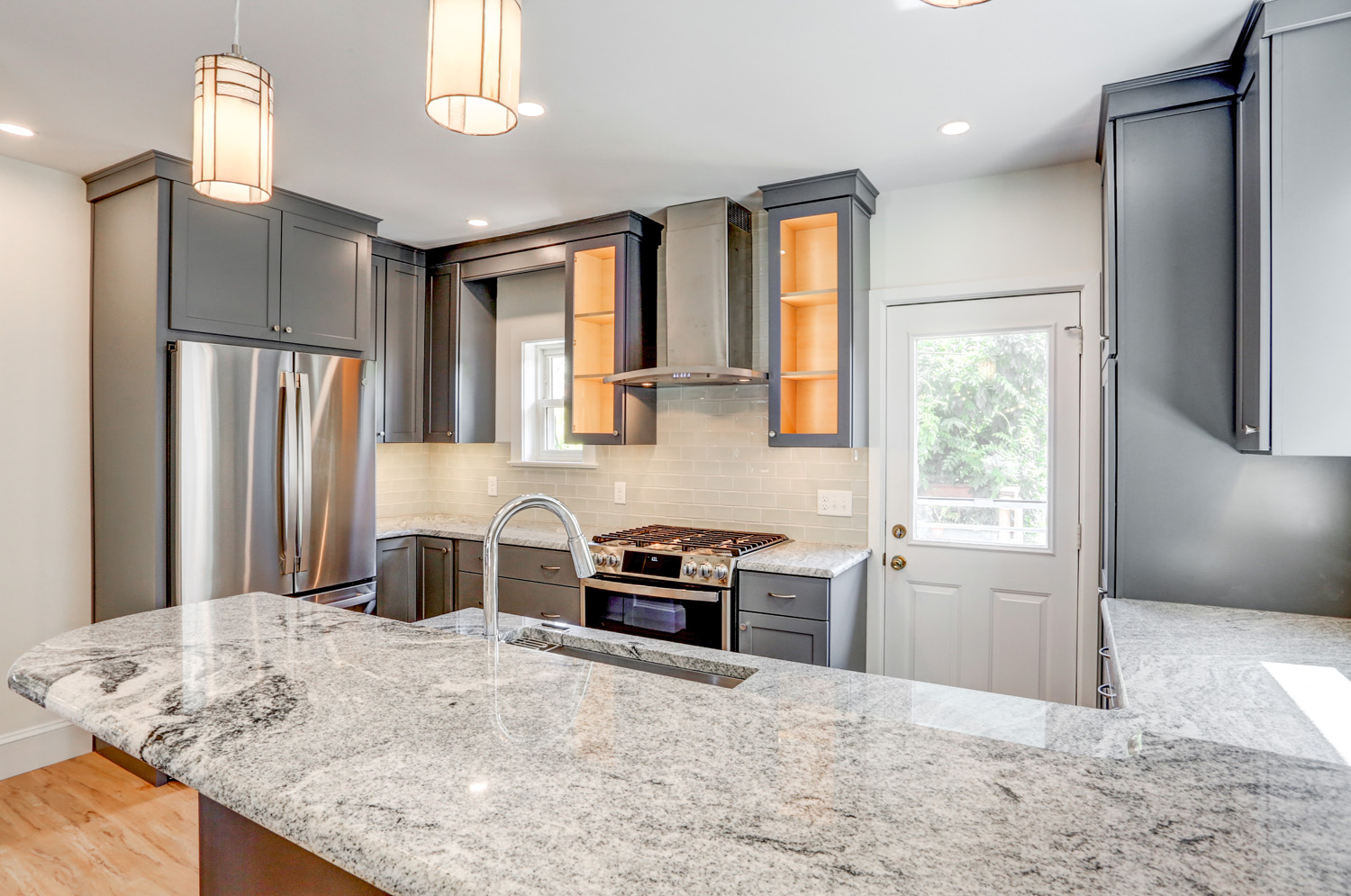 Gray cabinets and granite countertop in Lancaster PA kitchen remodel