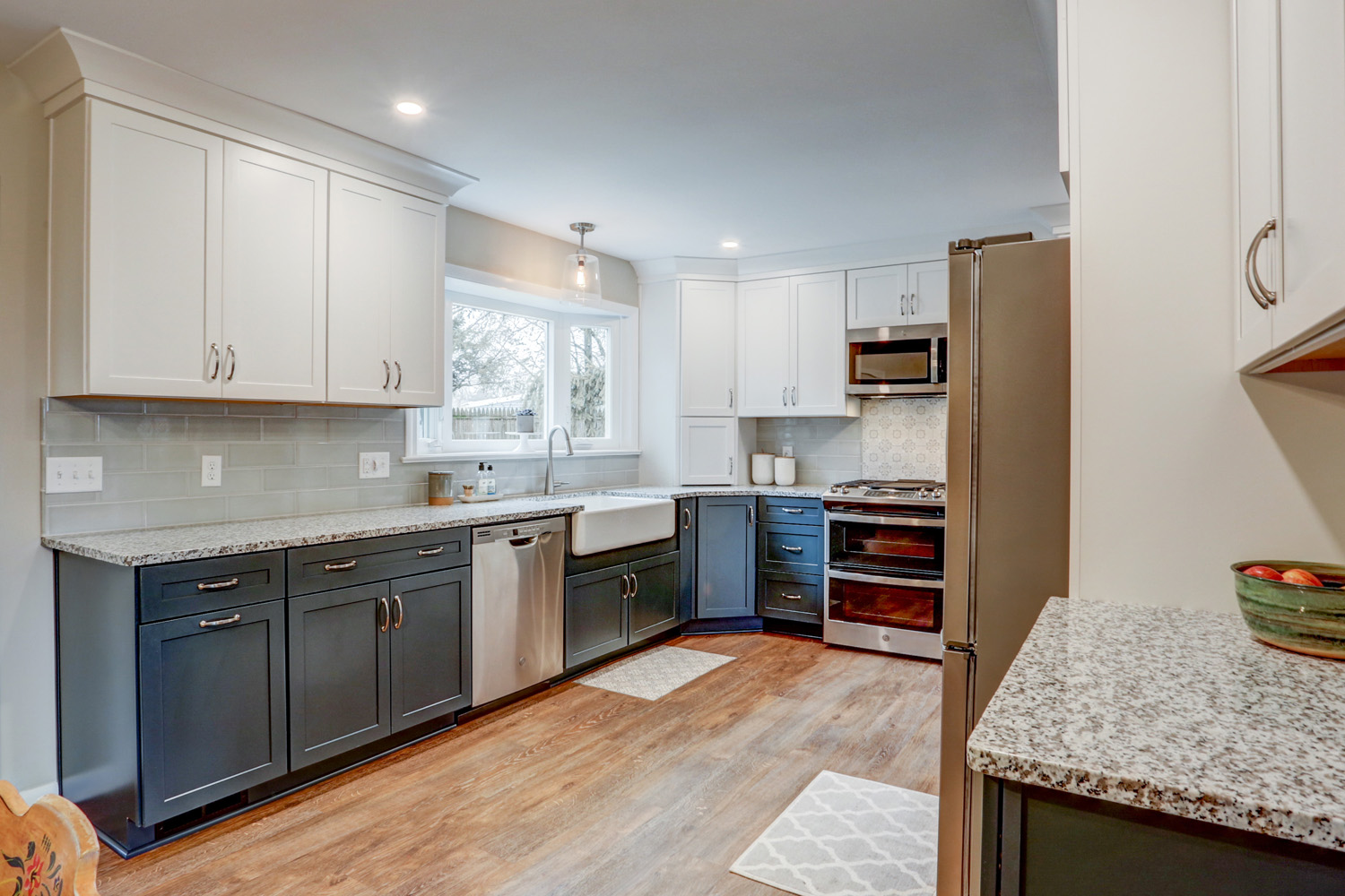 White and Blue Cabinets in Warwick Township Kitchen Remodel
