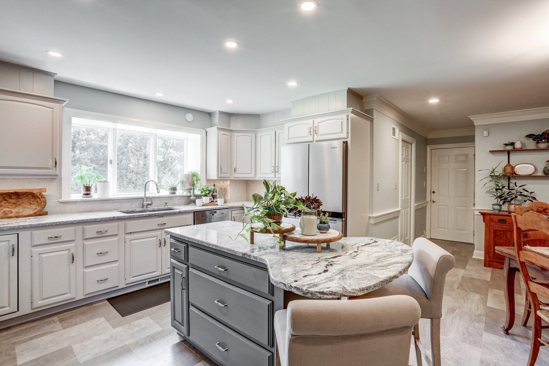 Custom gray island in Lancaster PA kitchen remodel