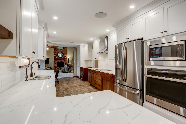 White granite countertop in Lancaster PA kitchen remodel