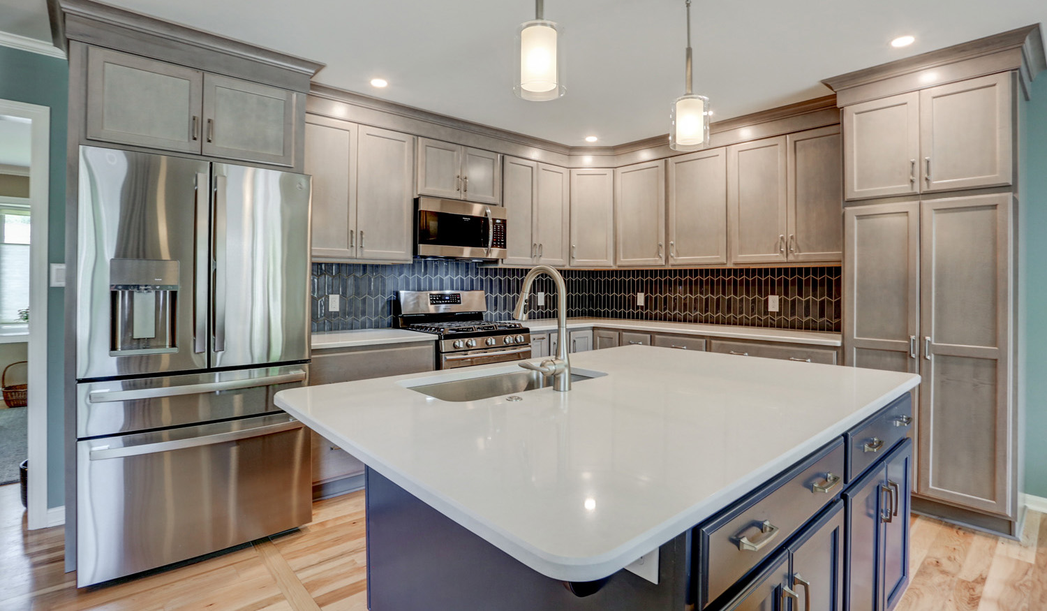 Accent island in Lancaster PA kitchen remodel