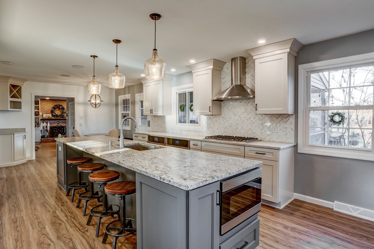 Large island in Lancaster PA kitchen remodel