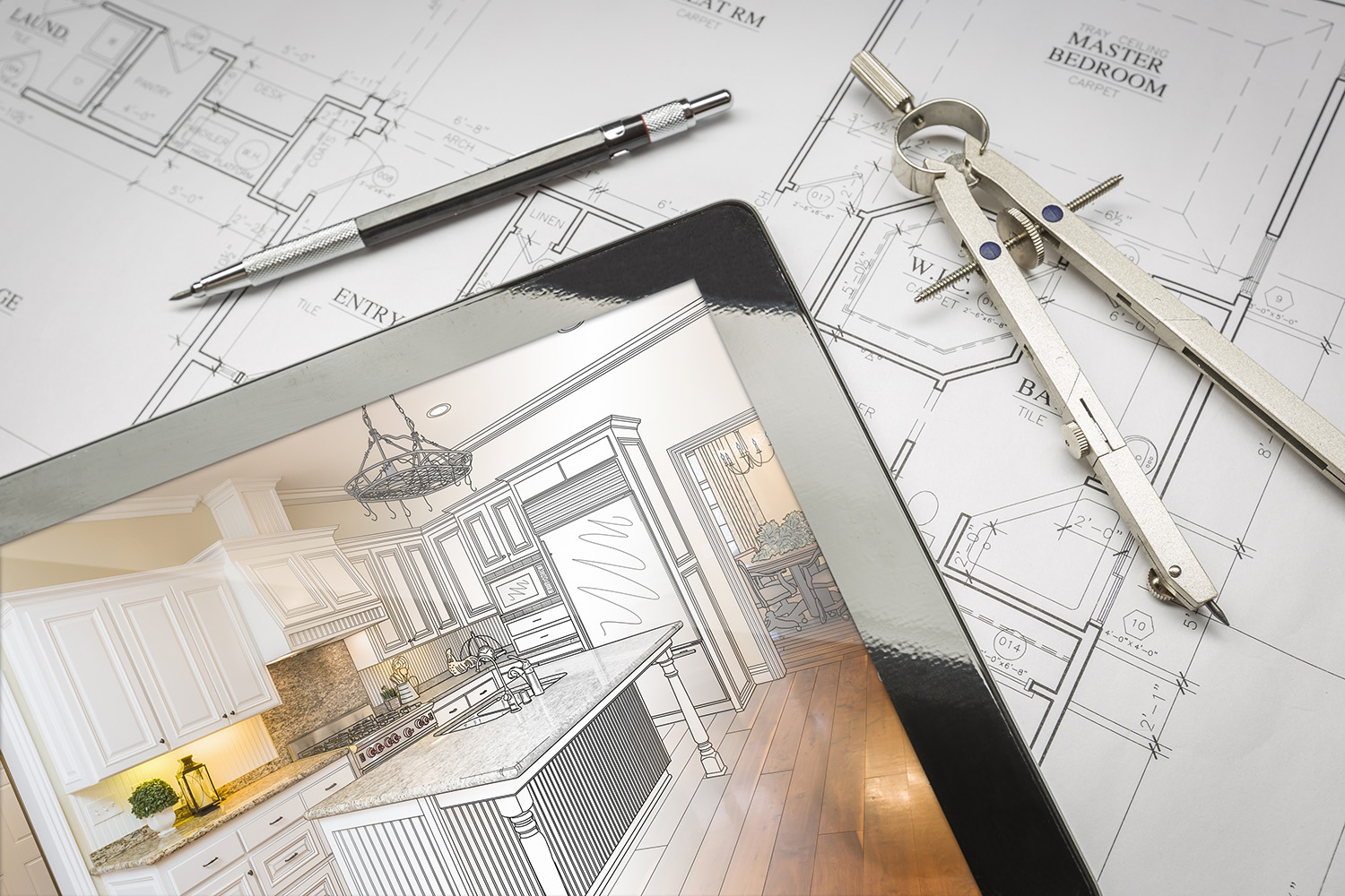 drawings of a design-build kitchen remodel