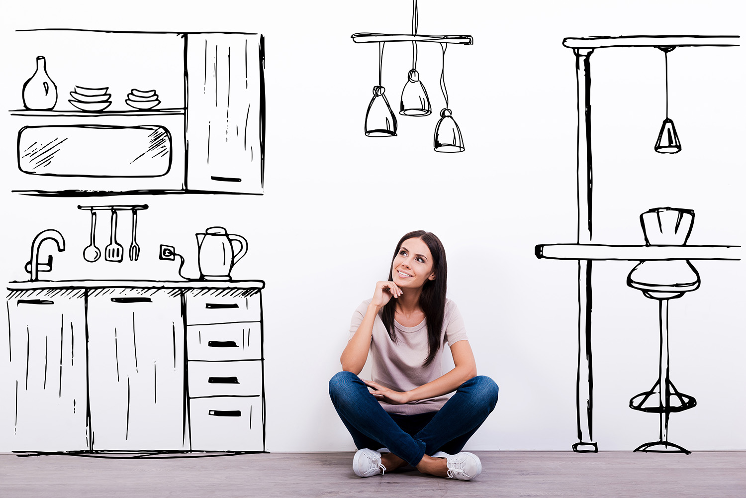 woman dreaming about her kitchen remodel